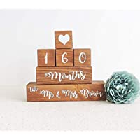 Personalised wedding countdown, wooden countdown calender, countdown blocks, enagagement gift, gift for a couple, proposal present