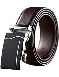 Tangda Hommes Cuir Alliage Boucle automatique Ceinture de jeans ceintures de serrage ceinture en cuir avec boucle automatique élégante Longueur 120cm Boucle Jolis