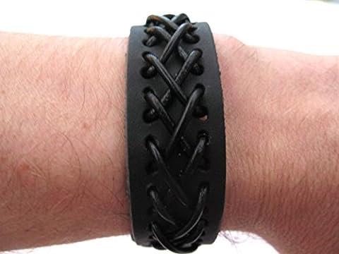 Mens or Womens hemp unisex urban surfer Black leather cord friendship cuff bracelet