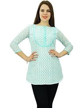 Phagun desgaste de mujeres impresión de la raya con botones Top de manga larga camisa de algodón Ropa