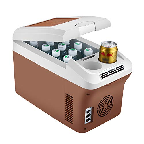 Tragbarer Mini-Autokühlschrank 15L, 12V / 24V / 220V Auto/LKW/Familie, kalter und Warmer leiser Kühlschrank, energiesparend, braun -
