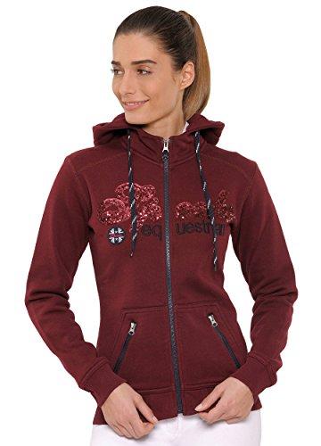SPOOKS Damen Sweatjacke, Kapuzen-Jacke Mädchen Kinder Frauen, Zipper Hoodie - Sommerjacke bequem & anschmiegsam, Roxie Sequin Jacket - Bordeaux S