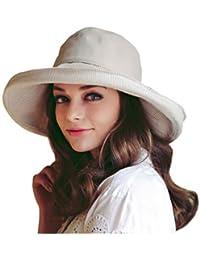 Sombrero de algodón y lino plegable para mujer con sombrero ancho para  protección solar fc62615cd0c