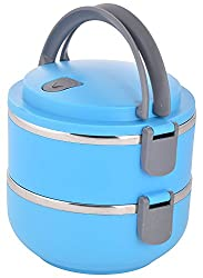 Samplus Mall 2 Layer Attractive Layer Steel Lunch Box for School & Office Purpose