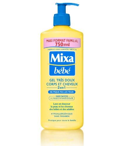 mixa b b gel tr s doux corps et cheveux 2en1 sans savon maxi format familial 750 ml le. Black Bedroom Furniture Sets. Home Design Ideas