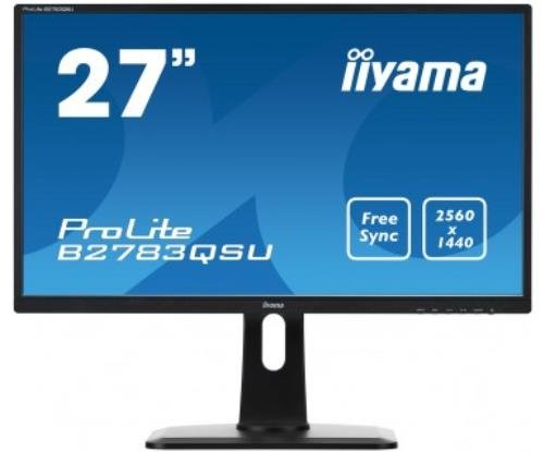 iiyama B2783QSU-B1 - B2783QSU-B1 - 27in Black WQHD LED Monitor 2560 x 1440 Speakers Height adjustable DisplayPort DVI-D and HDMI