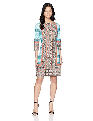 London Times Damen Petite 3/4 Sleeve Matte Jersey Shift Dress Kleid, Blau/Mehrfarbig, 44 3/4 Sleeve Shift Dress