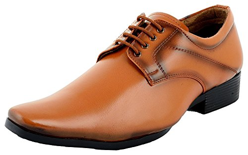 ALESTIt4NO Men's Tan PATENT LEATHER look Formal Shoes 03