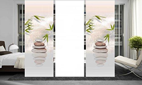 wohnfuehlidee 3er Set Raumteiler Deko blickdicht DIANA natur, Höhe 245 cm, 2x Dessin/1x weiß -