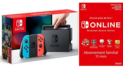 Console Nintendo Switch avec Joy-Con : rouge néon/bleu néon + Switch Online 12 Mois Famille [Download Code]