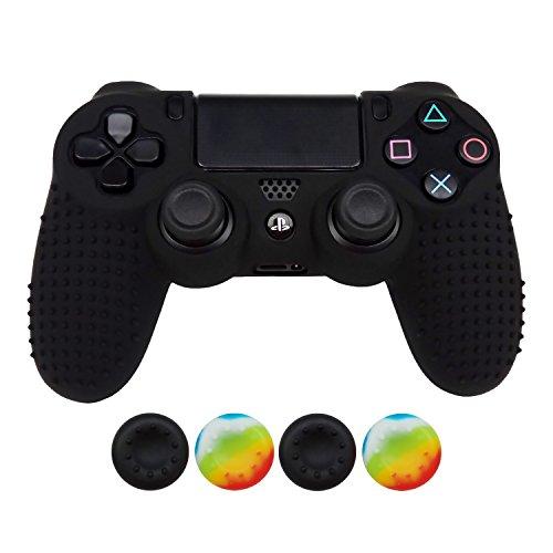 Hikfly Anti-Rutsch-besetzte Gummi Öl Silikon Controller Abdeckung mit 4pcs Daumen Griffe Kappen Kit für Sony PS4 / Slim / Pro Controller(Schwarz)