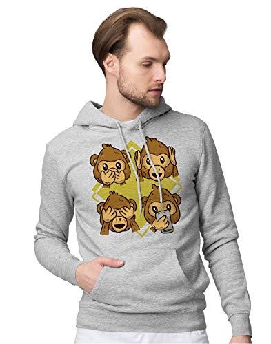 BLAK TEE Cute Monkey Reaction Faces Illustration Unisex Pullover Hoodie L