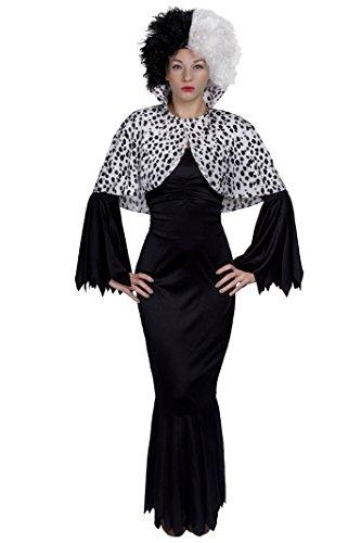 Womens Kostüm Cruella Deville - ILOVEFANCYDRESS BÖSE Dalmatiner Hunde Lady Cruella Style=3 TEILIGES KOSTÜM - MIT 2 VERSCHIEDENEN PERÜCKEN -Glatte +Krause PERÜCKE -KOSTÜM VERKLEIDUNG DEVILLE=Kleid-MEDIUM+KRAUSER PERÜCKE