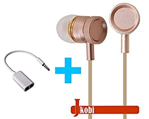Value Combo Of Metal Body Volume Control Earphone Handsfree and Splitter Cable Compatible For Reliance Jio LYF Wind 4 -Gold