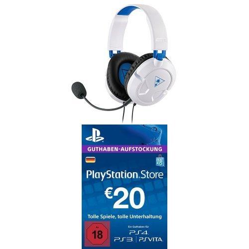 Turtle Beach Recon 50P Weiß Gaming Headset - PS4 und PS4 Pro + PlayStation Store Guthaben-Aufstockung 20 EUR