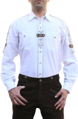 Trachtenhemd für Lederhosen mit Verzierung weiß, Hemdgröße:XL