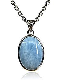 "amandastone Gemstone 20mm Natural aguamarina Oval encanto colgante collar 18"""