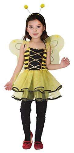 Bienenkostüm Gelb Kinder Mädchenkostüm Biene Outfit (Köperhöhe 110-120cm)