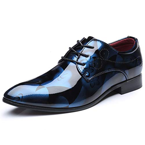 Bellelove Business Herren, Lederschuhe Lackleder Hochzeit Derby Schnürhalbschuhe Oxford Smoking Schuhe Männer Leder Braun Blau Grau Rot 37-48 (Braune Lacoste Schuhe)
