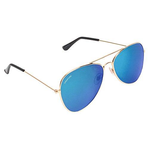 CREATURE UV Aviator Unisex Sunglasses (SUN-045|Medium|Blue)