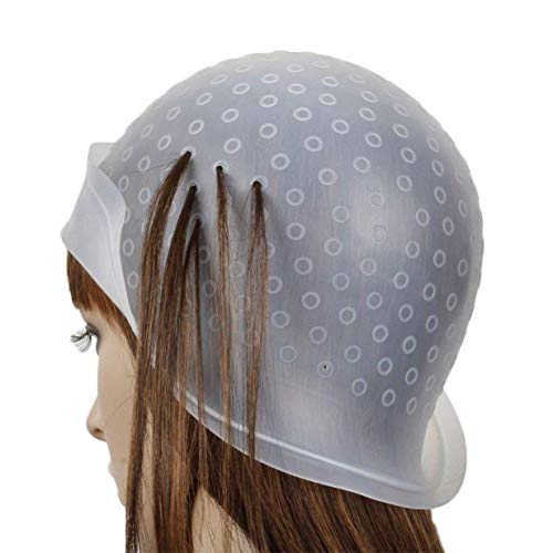 EUYOUZI Silicone Highlighting Cap Reusable Salon Hair Coloring Hat with Metal Hair Hook for Dyeing Hair (White) -