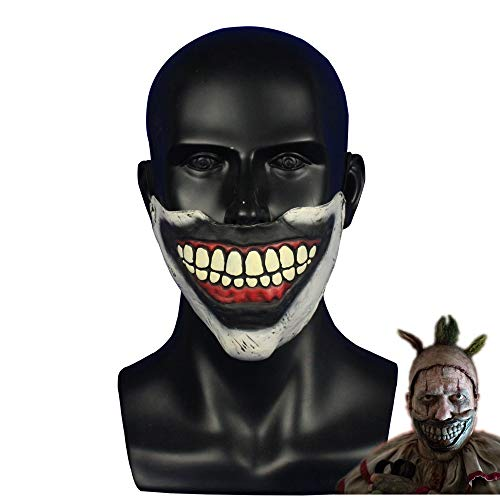 Kostüm Clown Twisty Der - VAWAA Amerikanische Horror-Geschichte Twisty Der Clown Maske Halloween Party Schreckliche Mund Maske Latex Halbes Gesicht Maske Cosplay Requisiten Liefert
