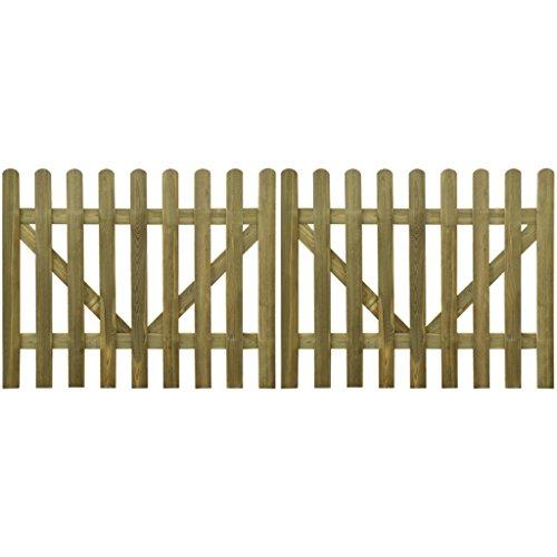 Festnight 2 pz Cancello per Steccato 300 x 120 cm Legno Impregnato