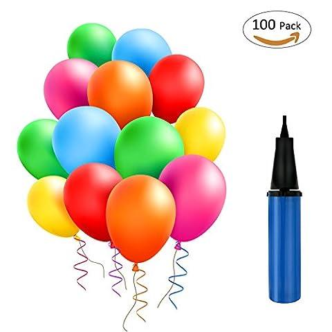 TedGem 100 Ballons Colorés avec la Pompe Bleue,Ballons pour Fêtes, Anniversaire, Cérémonie de Mariage, Party, Ballons de Fête de Couleur pour Fête D'anniversaire de Mariage