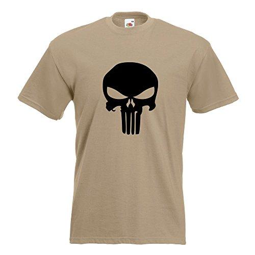 KIWISTAR - Totenkopf T-Shirt in 15 verschiedenen Farben - Herren Funshirt bedruckt Design Sprüche Spruch Motive Oberteil Baumwolle Print Größe S M L XL XXL Khaki