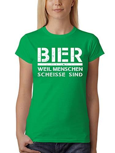 clothinx Damen T-Shirt Fit Bier Weil Menschen Scheisse Sind Grün Gr. S - Bier Humor Grünes T-shirt