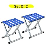 #4: TIED RIBBONS Set of 2 Portable Stool for Garden, Balcony, Terrace, Lawn Camping(30 cm X 30 cm X 24 cm)