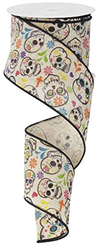 DAY OF THE DEAD Sugar Skulls Drahtkante, Band, 6,3 cm X 10 Meter