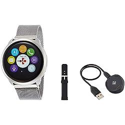 MyKronoz ZeRound - Reloj inteligente/pulsera de fitness, unisex, Smartwatch Fitnesstracker ZeRound Premium mit Metallarmband, silber (KRZEROUND-PREM-MET-SILVER)