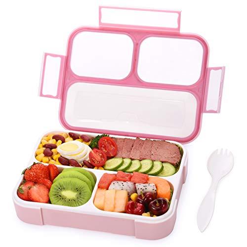 Momcozy Bento Box für Kinder, Auslaufsichere Lunchbox mit 3 Separat Fächern und Löffel, BPA-Freier Brotdose für Schule & Reisen, Geeignet für Mikrowellen, Spülmaschinen und Gefrierschrank
