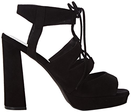 Jeffrey Campbell Ibex Suede, Chaussures à Talons à Bout Ouvert Femme Noir
