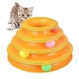 Katzenspielzeug, Interaktiv Katze Turm Ball Spielzeug,Spaß 4-Level Turm Bälle & Spur Spielzeug,Haustier Katze Spielzeug Spiel und Übung für Kätzchen,Katzen Teaser Kitty Spielzeug,Orange,18*30cm