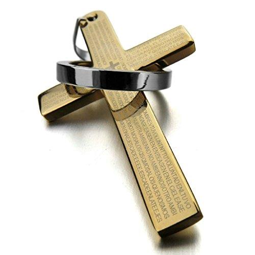 Adisaer Edelstahl Herren Anhänger Halskette - Kreuz Bible Lords Prayer Ring Vintage Gold