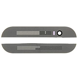 Front Upper Top + Lower Bottom Glass Lens Cover & Adhesive for HTC One M8 (Grey)