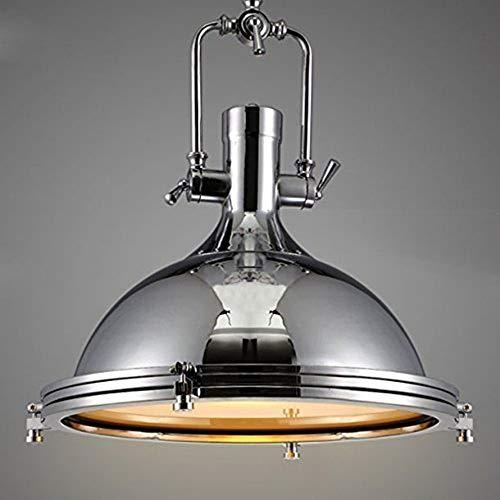 Asvert Suspension Luminaire Industrielle Vintage Eclairage de Plafond Lampe Pendante Plafonnier en Forme de Cloche Lustre Industriel Vintage Métallique pour Chambre Cuisine Bar Loft Salon, Argent