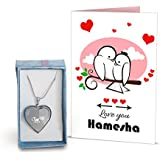 [Sponsored]TIED RIBBONS Love You Hamesha Greeting Card And Locket Combo For Boy Friend   Girl Friend   Husband   Wife   Fiance   Fiancee