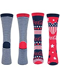 3126fdcc2228 Ladies 2 Pair Coca Cola Striped and Patterned Cotton Socks