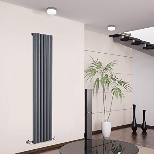 Milano Hudson Reed Termosifone Radiatore Termoarredo di Design Verticale Acciaio Antracite 958 Watt - 1600 mm x 354 mm