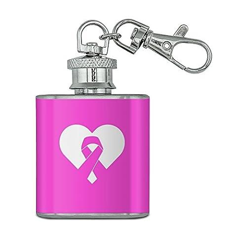 Brustkrebs Bewusstsein pink ribbon in Herz Unzen Edelstahl Mini Fläschchen Schlüssel Kette (Pink Ribbon Wrap)