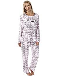 57ea903b97cf0 Ladies Jersey 100% Cotton Nightie Pyjamas Nightwear Long Or Short Sleeved  Full Length Buttoned Low Cut Neck Blue Pink White Size UK 8 10…