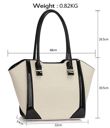 LeahWard® Damen nett Groß / Übermaß Schultertaschen Damen Tote Essener-Tasche Käufer Handtaschen 00473-Cream (32x14x30.5cm)