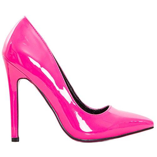 Zapatos Toocool Mujer Decolletes Decollè Tacones Altos Punta Vernice Lucide Nuove Sq1658 Fuxia