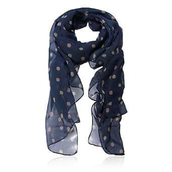 Womdee(TM) Fashion Charming Beautiful Beige Polka Dot Warm Scarf Wrap Women Lady Girl Shawl-Navy Blue With Womdee Accessory
