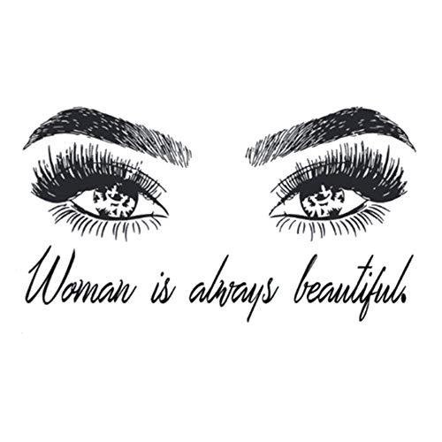 WFYY Frau mit Auge Wandaufkleber Wimpern Wandtattoo Wimpernverlängerung Beauty Shop Dekoration Augenbrauen Wandbild Beauty Geschenk 104X57Cm (Falschen Wimpern Von Anwenden)