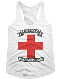 American Classics Bon Jovi Rock Band Badmed White Womens Racerback Tank Top Tee