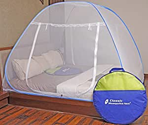 Classic Mosquito Net Foldable King Size (Double Bed) with Free Saviours - (Blue)